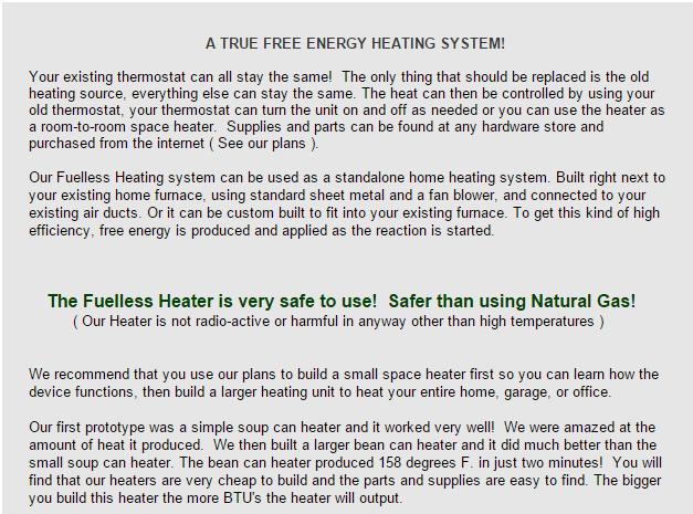Fuelless heater top copy